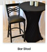 Chairs - Black padded high-top bar stool