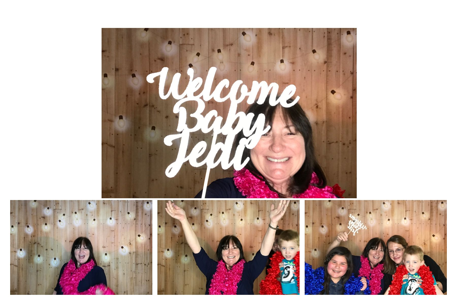 Wood Panel and Lights Photo Booth Backdrop