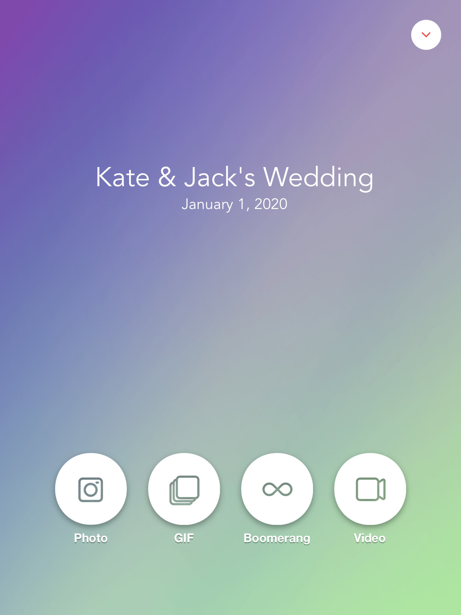 Wedding Photo Booth Home Screen