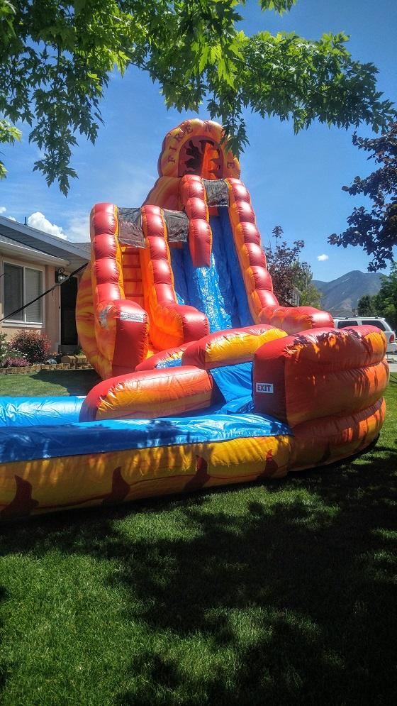 20ft Double Lane Two Story Fire and Ice Slide