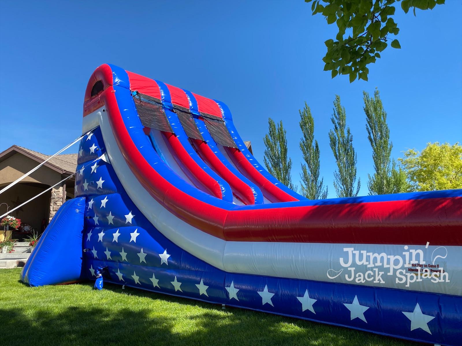 Jumpin Jack Splash 18ft Double Lane Water Slide. All American Water Slide