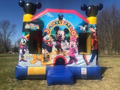 "<h5><span style=""color: blue;""><strong>Mickey Mouse Combo</span></h5> <span style=""color: red;""><medium>Has an AWESOME 8.5ft Internal Slide-Excellent for Smaller Yards</medium></strong></span>"