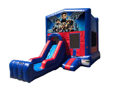 Black Panther Mini Red & Blue Bounce House Combo w/ Single Lane Dry Slide