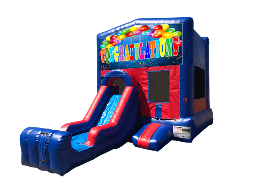 Congratulations Mini Red & Blue Bounce House Combo w/ Single Lane Dry Slide