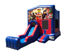 Lego Movie Mini Red & Blue Bounce House Combo w/ Single Lane Dry Slide