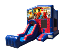 Lego Ninjago Mini Red & Blue Bounce House Combo w/ Single Lane Dry Slide