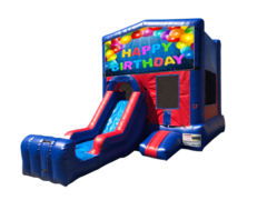 Happy Birthday Mini Red & Blue Bounce House Combo w/ Single Lane Dry Slide