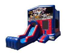 Halloween Mini Red & Blue Bounce House Combo w/ Single Lane Dry Slide