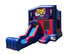 LSU Mini Red & Blue Bounce House Combo w/ Single Lane Dry Slide
