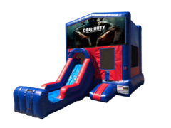 Call of Duty Mini Red & Blue Bounce House Combo w/ Single Lane Dry Slide