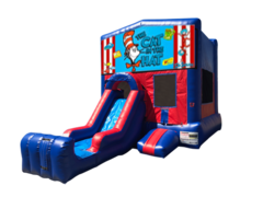 Cat in the Hat Mini Red & Blue Bounce House Combo w/ Single Lane Dry Slide