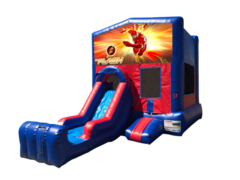 Flash Mini Red & Blue Bounce House Combo w/ Single Lane Dry Slide