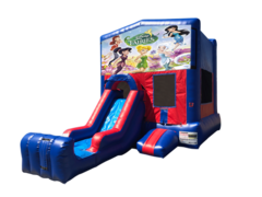 Disney Fairies Mini Red & Blue Bounce House Combo w/ Single Lane Dry Slide