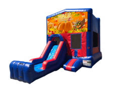 Happy Thanksgiving Mini Red & Blue Bounce House Combo w/ Single Lane Dry Slide
