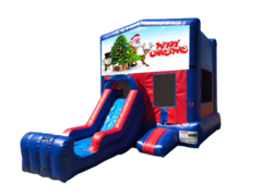 Merry Christmas Mini Red & Blue Bounce House Combo w/ Single Lane Dry Slide