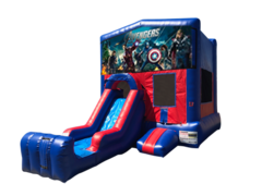 Avengers Mini Red & Blue Bounce House Combo w/ Single Lane Dry Slide