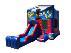 Despicable Me Mini Red & Blue Bounce House Combo w/ Single Lane Dry Slide