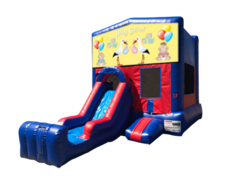 Baby Shower Mini Red & Blue Bounce House Combo w/ Single Lane Dry Slide