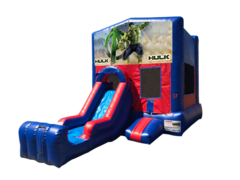 Hulk Mini Red & Blue Bounce House Combo w/ Single Lane Dry Slide