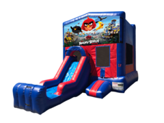 Angry Birds Mini Red & Blue Bounce House Combo w/ Single Lane Dry Slide