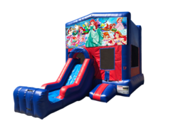 Little Mermaid Mini Red & Blue Bounce House Combo w/ Single Lane Dry Slide