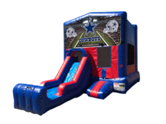 Dallas Cowboys Mini Red & Blue Bounce House Combo w/ Single Lane Dry Slide