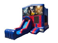 Beauty and the Beast Mini Red & Blue Bounce House Combo w/ Single Lane Dry Slide