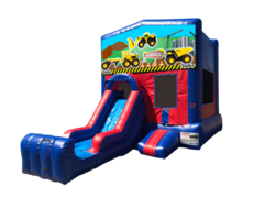 Construction Trucks Mini Red & Blue Bounce House Combo w/ Single Lane Dry Slide