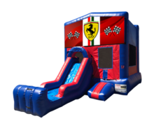 Ferrari Mini Red & Blue Bounce House Combo w/ Single Lane Dry Slide
