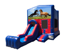 Horses Mini Red & Blue Bounce House Combo w/ Single Lane Dry Slide