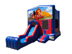 Lion King Mini Red & Blue Bounce House Combo w/ Single Lane Dry Slide