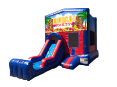 Luau Mini Red & Blue Bounce House Combo w/ Single Lane Dry Slide