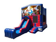 Alice in Wonderland Mini Red & Blue Bounce House Combo w/ Single Lane Dry Slide