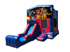 Five Nights at Freddy's Mini Red & Blue Bounce House Combo w/ Single Lane Dry Slide