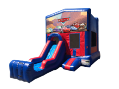 Cars Mini Red & Blue Bounce House Combo w/ Single Lane Dry Slide