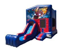 Iron Man Mini Red & Blue Bounce House Combo w/ Single Lane Dry Slide
