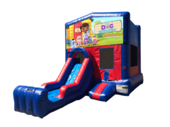 Doc McStuffins Mini Red & Blue Bounce House Combo w/ Single Lane Dry Slide