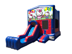 Hello Kitty Mini Red & Blue Bounce House Combo w/ Single Lane Dry Slide