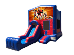 Incredibles Mini Red & Blue Bounce House Combo w/ Single Lane Dry Slide