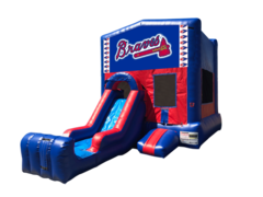 Atlanta Braves Mini Red & Blue Bounce House Combo w/ Single Lane Dry Slide