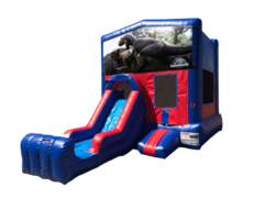 Jurassic World Mini Red & Blue Bounce House Combo w/ Single Lane Dry Slide