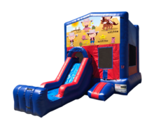 Cowgirls Mini Red & Blue Bounce House Combo w/ Single Lane Dry Slide