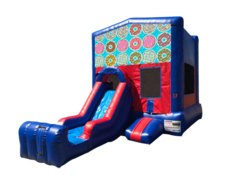 Doughnuts Mini Red & Blue Bounce House Combo w/ Single Lane Dry Slide