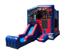 Justice League Mini Red & Blue Bounce House Combo w/ Single Lane Dry Slide
