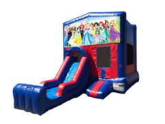 Disney Princess Mini Red & Blue Bounce House Combo w/ Single Lane Dry Slide