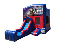 Fortnite Mini Red & Blue Bounce House Combo w/ Single Lane Dry Slide