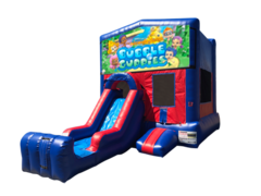 Bubble Guppies Mini Red & Blue Bounce House Combo w/ Single Lane Dry Slide