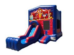 Carnival Mini Red & Blue Bounce House Combo w/ Single Lane Dry Slide
