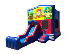 Curious George Mini Red & Blue Bounce House Combo w/ Single Lane Dry Slide