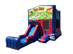 Farm House Mini Red & Blue Bounce House Combo w/ Single Lane Dry Slide